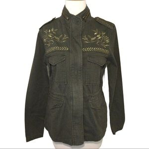 Forever 21 Army Green Embroidered Utility Jacket S